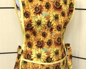 Tuscan Reflection Packed Sunflowers by Tim Coffey - Cobbler Smock Style Cotton Apron with two big pockets