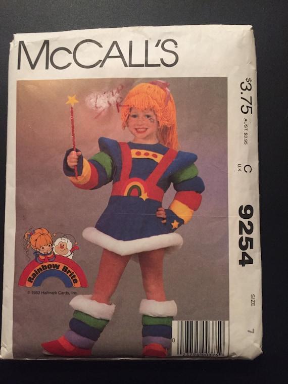 McCall's Sewing Pattern 9254 80s Children's Rainbow Brite Costume Size 7