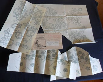 Vintage hot iron on embroidery transfers from 1930's a variety of floral designs   #10