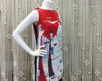 Absolutely amazing 1960's designer Mr. Dino novelty print Rome / Roma city print shift dress