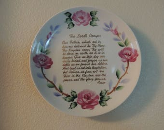 "Vintage Lord's Prayer Plate Hand Painted with Pink Roses Around Gold Lettering 7"" Religious Gift Wall Decor Nursery Decor"