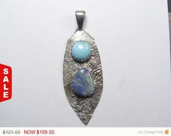 Australian Lighting Ridge nobbie opal and Larimar cabochon Sterling Silver pendant(j019)