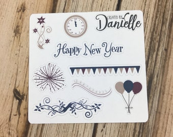 New Years Day Sampler Planner Stickers - Set 2, Happy New Year Stickers, January Planner Stickers, set of 8