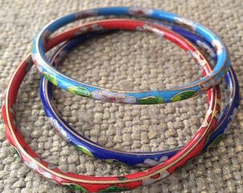 set  3 CLOISONNÉ bangle bracelets
