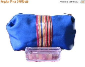 ON SALE Make Up Bag - Clutch Wallet - Accessories Bag - Blue - Middle Eastern Fabric Handmade