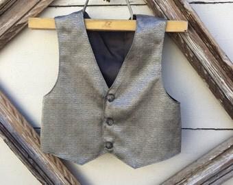boys gold vest , christmas vest for boys