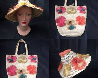 1940s 1950s souvenir straw hat and bag