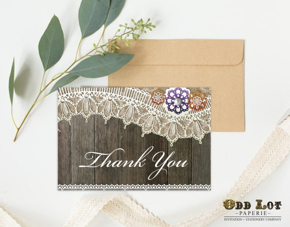 Thank You Card Printable Greeting Folded Rustic Lace In Fall