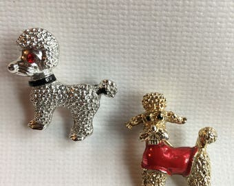 Vintage Set of Tiny Poodle Brooches