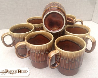 Stacking Mugs Vintage Glazed Pottery Marked Japan, Vintage Coffee Cups, 8 cup set