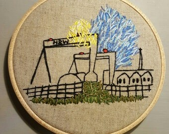 Harland and Wolff cranes. Hand embroidered Samson and Goliath cranes, Belfast.