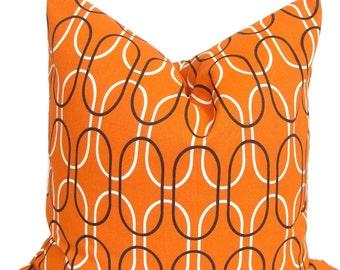 ORANGE PILLOW Sale.18x18 inch.Decorative Pillow Cover.Home Decor.Decor.Housewares.Home Decor.Geometric.Orange Brown Pillow.Cm.Burnt Orange.