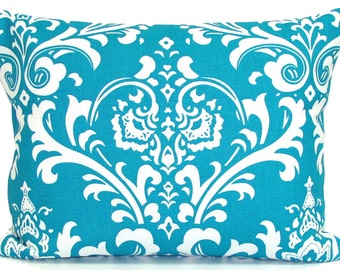 TURQUOISE PILLOW Sale 12x16 inch.Pillow Cover. Decorative Pillows.Housewares. Lumbar Pillow Cover.Cushion.Floral.Damask.cm