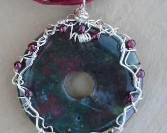 Silver Wire Wrapped Ruby Zoisite or Eudalite Donut Pendant Necklace with Garnet