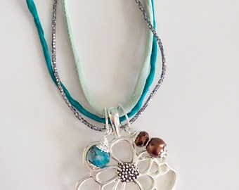 Teal Silk Ribbon Floral Necklace, Beaded Necklace, Brown, Teal, Turquoise, Floral Necklace, Floral Pendant Necklace