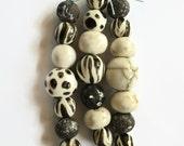 Black and white ceramic beads, 21 clay beads made in South Africa, Handmade Ceramic Beads, African beads, Beads, 3 bead strands, 21 beads