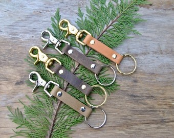 Simple Leather Keychain With Lobster Clasp
