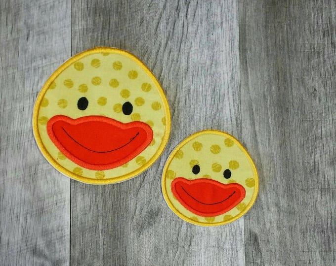 Yellow duck face iron t-shirt applique- ready to ship