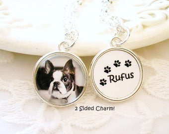 Photo Charm Necklace Gift for DAD for Fathers Day 1 or Two Sided Charm Dog or Cat Charm Mom Gift for Wife Pet Loss Charm Picture Charm