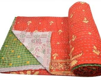 Vintage Kantha Quilt Gudri Reversible Throw Ralli Bedspread Bedding India OG554