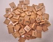 Vintage Lot of 100 Wood Scrabble Tiles Game Pieces Scrabble Games