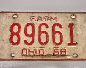 Vintage 1968 Ohio Farm License Plate White and Red Farm Plate