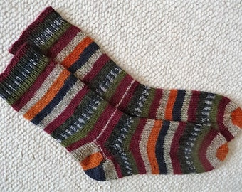 Hand knitted woman, man  socks, UK 5-7 US 7-9