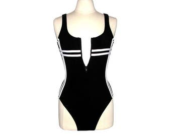 Vintage 90s MAINSTREAM Black Zip-Front One Piece Swimsuit w/ Sporty White Stripes- Size 12