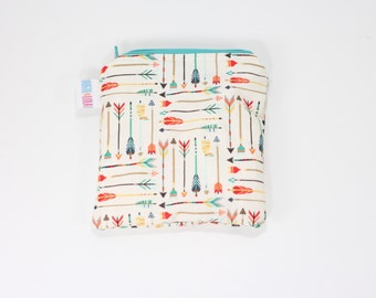 Arrows Reusable Bag, Reusable Bags, Reusable Snack Bags, Reusable Sandwich Bags, Handmade Zipper Bags, Small Zipper Pouch