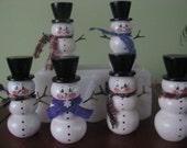 Snowmen, shelf sitter, winter, teacher's gift, hostess gift, handpainted, top hat, scarves, glitter, wood