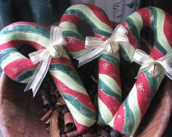 Candy canes, Christmas, Jingle Bells, bowl fillers, material, striped, home decor, handsewn, hostess gift