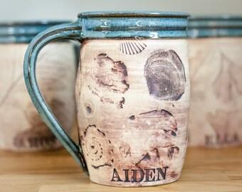 Personalized Coffee Mug - Ceramic Coffee Mug-Nautical Sea Shell 16 ounce