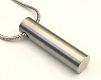 Stainless Steel Cremation Necklace, Brushed Stainless Steel Urn, Cylinder Urn Locket, Cremation Locket, Memory Locket, Cremation Jewelry