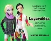 "Layerables Tunic, leggings, cardigan Clothes Pattern for Medium 11.5"" Dolls: Barbie, Disney Princess, Fashion Royalty, Petite, Tall"
