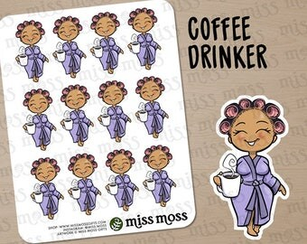 Tan Skin Coffee Drinker Robe Lazy Day Planner Stickers, Latina Hispanic Mixed - Erin Condren, Happy Planner, Kikki K, Filofax, Decorative