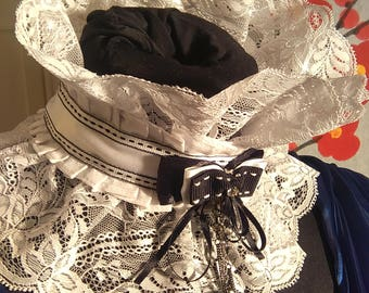 Lace collar, Ruffle collar, white  detachable collar, Gothic collar, collar-boa