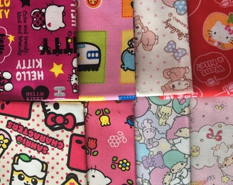 Sanrio licensed fabric Hello Kitty My Melody Little Twin Stars fabric Scrap set of 8 pieces Kawaii