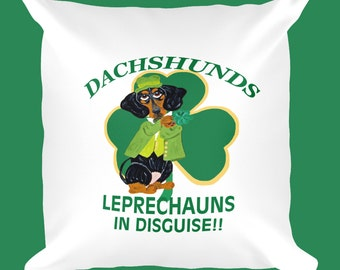 St. Patrick's Day Pillow/Dachshunds/Dachshund Leprechaun/St. Patrick's Day Dachshund Pillow/Doxie Pillow/Squirreldumplings/Dachshund Pillow
