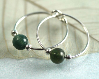 Sterling Silver Hoops with gemstones. Moss Agate and silver Earrings