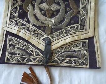 Ottoman bourse antique 19th-century purple velvet metallic embroidery