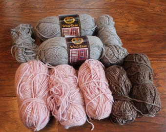 Yarn Lot, Destash Yarn, Wool Ease Lion Brand, light pink, gray
