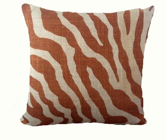 Zebra Pillow 12 x 12 Pillow Cover Burlap by PillowMakers