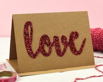 Valentine's Day Card - Anniversary Card - Love Card - Romantic Card - Handmade Card - Glitter Card - Love token - Card for glitter lovers