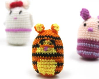 Little Cute Crochet Doll 4.5(W) x 7(H)cm, Tiger, Pig, Mouse,