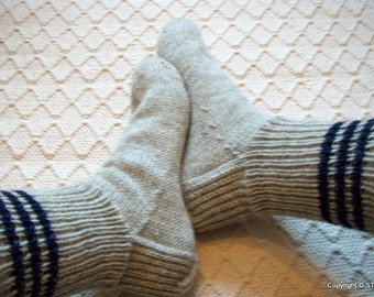 Big size mens Handknitted wool boot socks Light gray Dark blue Woodland Hiking Ski Winter Home Relax socks Gift idea Handmade in Finland