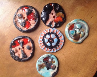 6 Large Pottery Buttons, Handmade, 2 hole, 40mm, 45mm, Rustic, ooak, Black, Blue, Aqua, Red, Terra Cotta, Modern Buttons