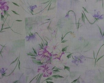 Vintage Sheer Fabric by the Yard, Vintage Floral Fabric, Lightweight Fabric, Pink Purple Fabric, Vintage Fabric - 1 Yard - SF2158
