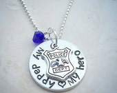 My Daddy My Hero Necklace, Police Officer Jewelry, LEO jewelry, Back The Blue gift, Police Gift, Gift for Son, Gift for Daughter, Blue Lives