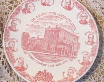 Vintage Kettlesprings Kilns Golden Lamb Lebanon Ohio Plate