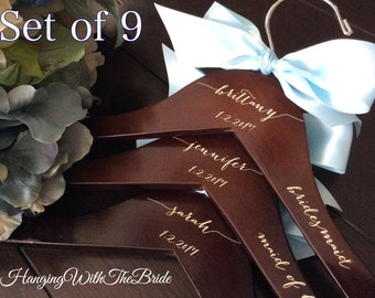 Set of 9 Wedding dress hanger, Wooden Engraved HangerCustom Bridal Hangers,Bridesmaids gift, Wedding hangers with names,Custom made hangers